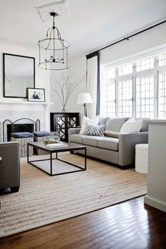 Lux Decor: Incredible living room with monochromatic palette and wall of leaded glass French doors. ...