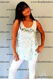 """Catherine Lowe knew it was love at first sight when she saw this glitzy leopard and mint top! She expertly paired it with some white skinnies for a match made in heaven! We absolutely love the way this sheer tank catches light and eyes alike! ;) You'll love the loose fit that makes it easy to wear out on the town during a warm summer night! Fits true to size. Catherine is wearing the small. Length from shoulder to hem: S- 26"""" M- 26.5"""" L- 27"""""""