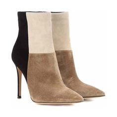 Gianvito Rossi Suede Ankle Boots ($870) ❤ liked on Polyvore featuring shoes, boots, ankle booties, black suede booties, short black boots, suede booties, beige booties and black booties
