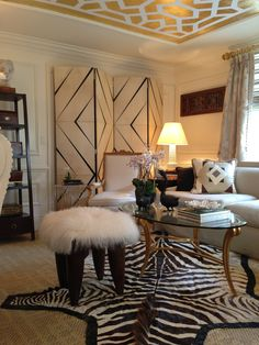 Kips Bay Show House...rug textures/layering,white and bright with trim adding interest, brass accents, and still obsessed with that gold leafed ceiling. BONUS: ceiling looks to be about 9' high (same as my house), yet painted detail manages to open up the room, rather than make it feel cramped!