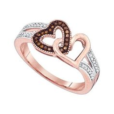 10kt Rose Gold Womens Round Red Colored Diamond Double Heart Love Fashion Ring 1/6 Cttw