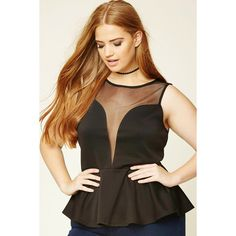 Forever 21 Plus Women's  Plus Size Mesh Peplum Top ($18) ❤ liked on Polyvore featuring tops, plus size mesh top, mesh peplum top, plus size tops, plus size peplum top and forever 21