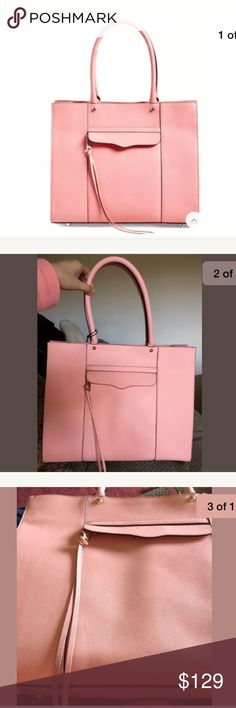 REBECCA MINKOFF MAB LEATHER PINK Dark Peach TOTE Super cute! ❤❤ Comes with imperfections of minor scratches on gold hardware, and marks on leather. Store mishandling 😭😕 One strike mark is pretty noticeable but others are minor! You might find more minor marks that's not shown in pics Rebecca Minkoff Bags Totes
