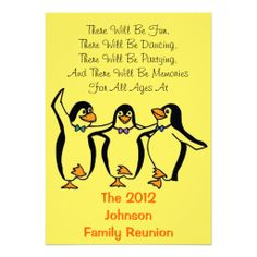 Funny Dancing Penguins Festive Family Reunion Cards