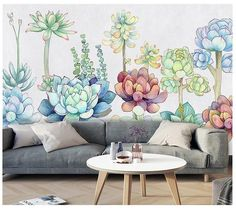 Northern European Succulent Plantst Wallpaper, Green Plants Wall Mural, Wall Art, Living and Dinning Room Wall Paper Custom Wallpaper, Of Wallpaper, Colorful Interior Design, Cactus, Open Wall, Succulent Wall, Smooth Walls, Cleaning Walls, Traditional Wallpaper