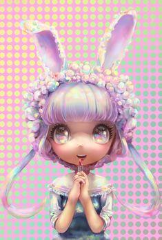 ✮ ANIME ART ✮ pastel. . .realism. . .chibi. . .bunny girl. . .rabbit ears. . .bubbles. . .lipstick. . .cute. . .kawaii
