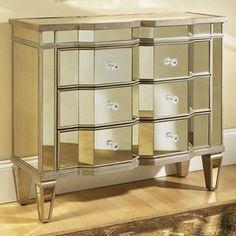 For my all white, mirrored room!  Pulaski Marquis Mirrored Chest  www.jossandmain.com