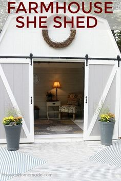 She Needs a She Shed with Fixer Upper Farmhouse Flair! - The Cottage Market She Needs a She Shed with Fixer Upper Farmhouse Flair! - The Cottage Market Shed House Plans, Wood Shed Plans, Cabin Plans, Backyard Storage Sheds, Shed Storage, Backyard Sheds, Small Storage, Backyard Barn, Firewood Storage