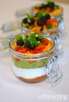Mason jar layered dip~ perfect individual servings for your Super Bowl party!