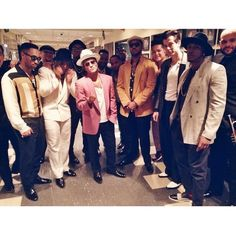 """Mark Ronson, Bruno Mars and the Hooligans after their SNL performance of """"Oh Wee"""" (Nov. 22, 2014)"""