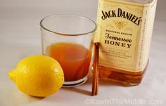 Ingredients .5 cup hot water 2 tablespoons Jack Daniels Tennessee Honey Whiskey/Wild Turkey American Honey 2 teaspoons lemon juice 1 teaspoon honey .5 teaspoon cinnamon Instructions Mix together whiskey, lemon juice, honey, & cinnamon in glass or mug. Add hot water. Stir. Drink liberally.