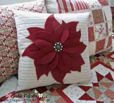 Poinsettia Pillow ~ sewing tutorial for Christmas holiday cushion cover, Pottery Barn copycatpoinsettia pillow on bed 3 copyChristmas Once a Month - Poinsettia Pillow - The Crafty QuilterYou'll find lots of Holiday tutorials for Christmas, Easter, Ha Christmas Sewing, Christmas Embroidery, Felt Christmas, Christmas Projects, Christmas Holiday, Xmas Crafts, Sewing Patterns Free Home, Diy Pillows, Throw Pillows