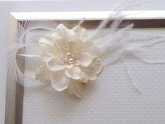 Ivory Delphinium Flower Clip, SWAROVSKI Pearl Clip, Bridal Fascinator, Feather Clip, Wedding Hair Clip, Flower Clip, Bridesmaid Accessory on Etsy, $22.00 CAD