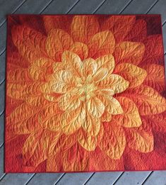 Excited to share the latest addition to my #etsy shop: Dream Big Flower Wallhanging/Bright Orange Flower Wallart/Hoffman Bream Big Flower Panel/Quilted Flower Wallhanging