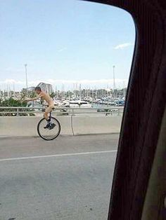 "Why, Naked Unicyclist, (who was arrested in Kemah today), WHY? He said he did it because ""it felt good"".  You will see some crazy things if you live in Houston long enough."