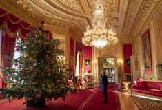 She might spend Christmas at Sandringham, but the Queen still puts on a spectacular festive display at Windsor Castle each December, including a Nordmann fir tree decorated in gold ornaments. Royal Christmas, Christmas Room, Merry Christmas, Christmas Ideas, Nordmann Fir Tree, Inside Windsor Castle, Houston, Beautiful Christmas Trees, Xmas Trees