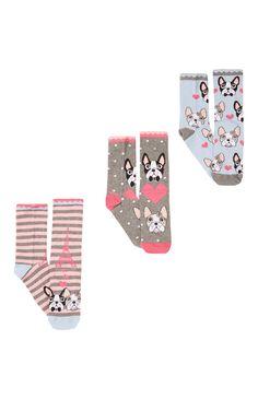 Primark - Socken mit Frenchie-Muster, 3er-Pack