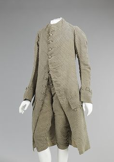 Suit (Frockcoat and breeches) c. 1760 silk. Mid-18th century men's suits were slimmer than the decades prior to them with a curved front opening, narrower sleeves and cuffs, and fitted breeches with a fall front closure. This suit is a fine example of a gentleman's day suit of the period in silhouette and textile. Not easy on the eye but definitely makes a statement