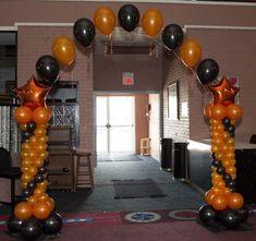 Quinceanera Balloon Decorations ~ Quincenetta ~ Tulsa, OK Casa Halloween, Halloween Birthday, Halloween Party Decor, Balloon Backdrop, Balloon Columns, Astronaut Party, Orange Balloons, Halloween Balloons, Orange Party