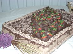 Grooms German Chocolate Cake with Chocolate Covered Strawberries