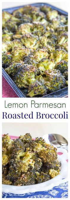 Lemon Parmesan Roasted Broccoli - a healthy and simple side dish with tons of flavor. A family favorite recipe that even gets the picky eaters to eat their veggies. | cupcakesandkalechips.com | gluten free, low carb