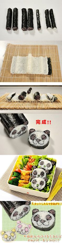 Make a panda sushi roll for your next meal!