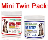 Total-Digestion Mini Twin Pack™ for Pets. 1 Total-Zymes® 1 jar of Total-Biotics®, Treats 100 cups of pet food. With 16 digestive enzymes, and 14 live probiotic strains for optimal health and digestion.