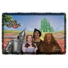 This Wizard of Oz woven blanket is a great gift for any fan of the musical. Featuring Dorothy and the whole gang, Tin Man, Scarecow and the Cowardly Lion. - Officially Licensed - Hand Printed in the U