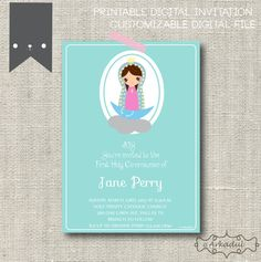 First Holy Communion , Baptism Printable Digital Invitation :  Our Lady of Guadalupe, Sweet Color on Etsy, $12.00