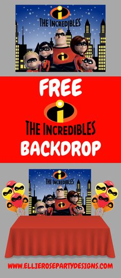 Add a wow factor to your Incredibles party with this free backdrop. 4th Birthday Parties, Diy Birthday, Birthday Party Decorations, Incredibles Birthday Party, Second Birthday Ideas, Party Themes For Boys, Diy Party, Ideas Party, Backdrops For Parties