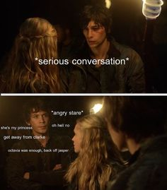 // Bellamy and Clarke // The 100 // The CW // haha //