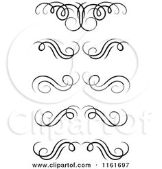 Clipart of Black and White Swirl Monogram Design Elements - Royalty Free Vector Illustration by Seamartini Graphics