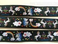 ♥ EINHORN ♥ Woven Ribbon BLACK UNICORN