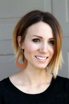 Short ombre hair and cut out leather earrings from Nickel & Suede