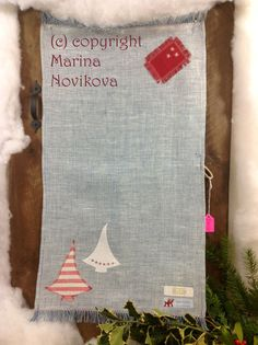 CLEARANCE. Linen Kitchen Towel Christmas trees Hand от FlaxyPlanet