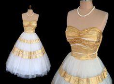 Vintage 1950's Emma Domb Metallic Gold Lamé Ivory Tulle Strapless Dress