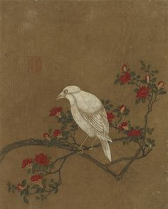 Bird and flowers   1368-1644   Ming dynasty   Ink and color on silk   China   Gift of Charles Lang Freer   Freer Gallery of Art   F1911.165d