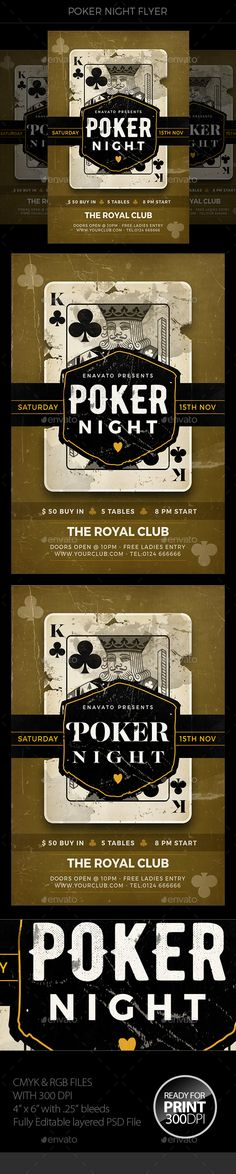 Poker Night #Flyer - #Events Flyers Download here: https://graphicriver.net/item/poker-night-flyer/19462963?ref=alena994