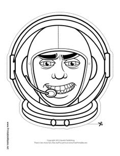 A male astronaut outline mask like this one can be colored in and worn with string for a quick unique costume. Color his space helmet and space suit your favorite color and get ready for lift off! Free to download and print