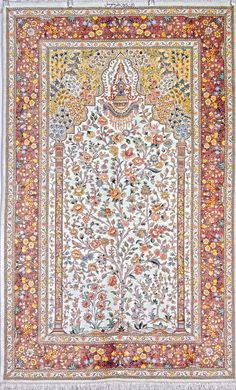 Retail Price: $9,500.00 You Save: 63% ($6,000.00) Item#: 122 Category: Small(3x5-5x8) Persian Rugs Design: Tree of life Size: 153 x 97 (cm)      5' 0 x 3' 2 (ft) Origin: Iran Foundation: Silk Material: Silk Weave: 100% Hand Woven Age: Brand New KPSI: 900 You pay: $3,500.00