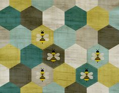 Five Bumble Bees - Art Print Hexagon Quilt, Hexagons, Thing 1, Bee Jewelry, Bumble Bees, Bee Art, Bee Design, Save The Bees, Bees Knees