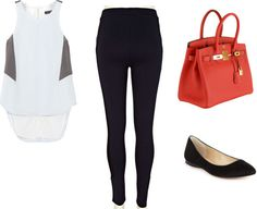 Requested travel outfit. xxRag & bone topRiver Island leggingsHermes bagINC international flats