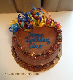 One of our signature birthday cakes. This is chocolate cake with chocolate buttercream. All from scratch, not a mix!