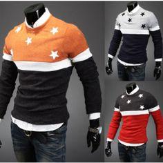 New men's fashion crew neck stars print knitwear $19.80 from enjoyours.com #men'sfashion #enjoyours