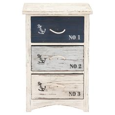 Showcasing eye-catching anchor accents and a stenciled typographic motif, this weathered 3-drawer chest brings a nautical touch to your master suite or home ...