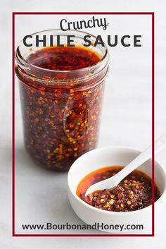 Crunchy Chile Sauce | http://BourbonandHoney.com -- This Crunchy Chile Sauce is savory, spicy and totally delicious. Spoon it on everything from rice bowls to scrambled eggs, roasted veggies or nachos. - Click through to read the full post or repin to find later!