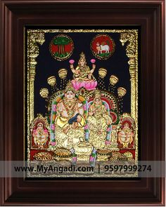 Lakshmi Tanjore painting  Call us or Whatsapp @ 9597999274 #TanjorePainting #Painting #MyAngadi Vivid Colors, Colours, Wonder Art, Pooja Room Design, Tanjore Painting, Pooja Rooms, Gods And Goddesses, Art Forms, Murals