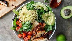 Honey Lime Chicken Quinoa Bowl  The chicken marinade is excellent