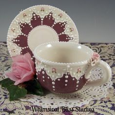 Whimsical Bliss Studios - Mauvelous Lace Teacup & Saucer