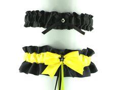 set garter yellow and black garter  gothic ou by FashionForWomen